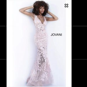 Jovani white floral sequin formal wedding gown